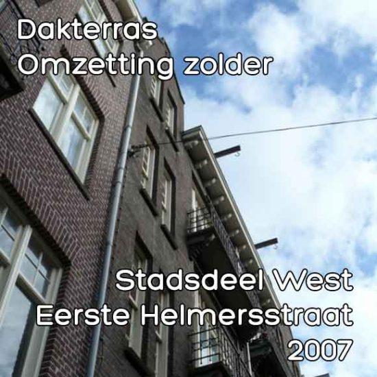 Helmersstraat, eerste bouwaanvraag dakterras