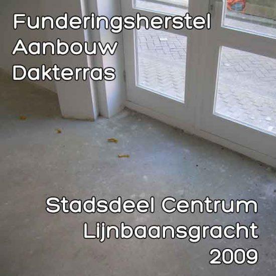 Lijnbaansgracht omgevingsvergunning funderingsherstel aanbouw dakterras